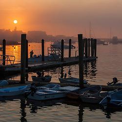 Sunrise in Rye, Harbor, New Hampshire.