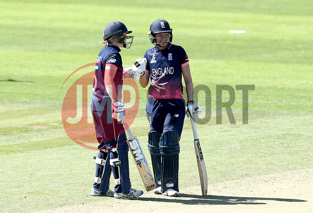 Sarah Taylor of England Women smiles with Heather Knight of England Women as they bat together against Sri Lanka Women - Mandatory by-line: Robbie Stephenson/JMP - 02/07/2017 - CRICKET - County Ground - Taunton, United Kingdom - England Women v Sri Lanka Women - ICC Women's World Cup Group Stage