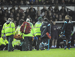Chelsea Kurt Zouma, is stretched off after his collision and injured Jaw, with Derby Richard Keogh, Derby County v Chelsea, Capital One Cup Quarter Final, Score Derby 1(Bryson),  Chelsea 3 (Hazard, Luis, Schurrle) Pride Park Tuesday 16th December 2014