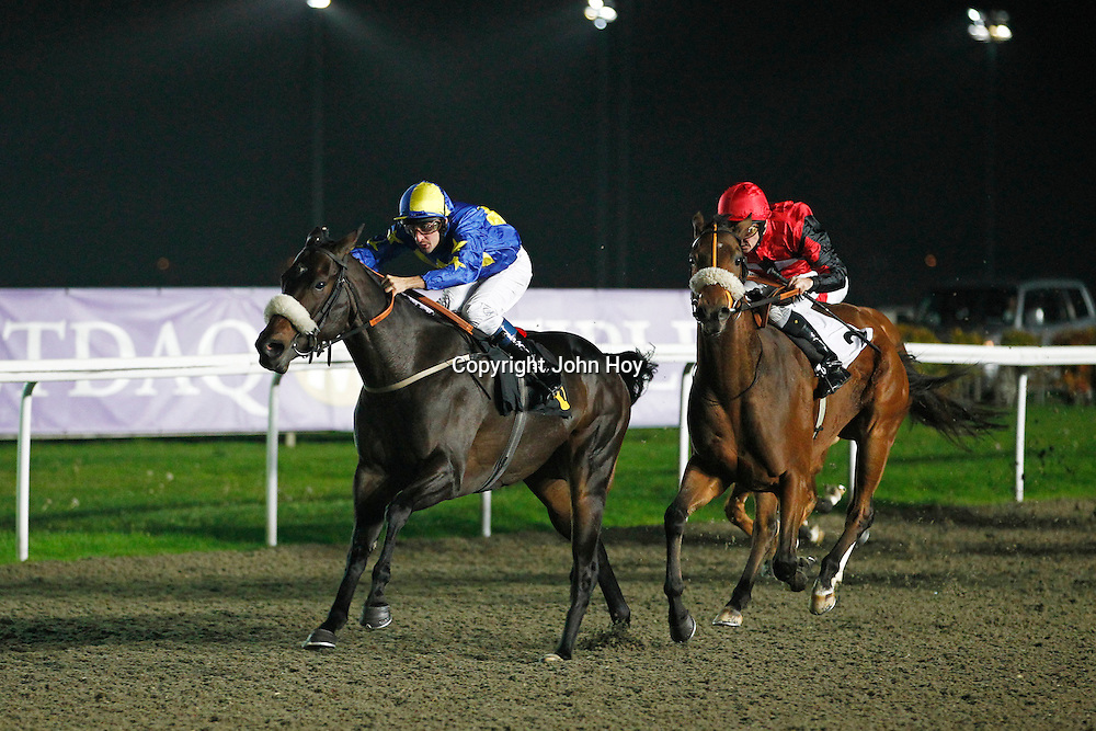 Maggie Pink and Dominic Fox winning the 8.20 race