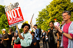 Protesters create a big noise in Regent's Park, London, outside the US Ambassador's residence where President Donald Trump is staying. London, July 12 2018.