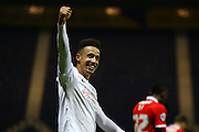 Preston North End Striker Callum Robinson celebrates at full time during the Sky Bet Championship match between Preston North End and Charlton Athletic at Deepdale, Preston, England on 23 February 2016. Photo by Pete Burns.