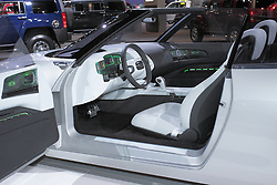 11 February 2009: SAAB 9-X CONVERTIBLE CONCEPT: The 9-X Convertible Concept is an innovative design study exploring what a future open-air Saab could look like. Unlike any other convertible, this prototype has the revolutionary Canopy Top, where only the upper part of the roof is canvas covered. A totally new take on open air driving. The rear of the car, with its prominent buttresses, creates a targa-like look for an open four- seater. Biofueled, turbocharged and electronically powered - the front-wheel drive Saab 9-X prototype is more responsible via its optimized Verified Sustainable E85 bioethanol fuel. Pairing the right-sized BioPower engine with an electric hybrid drive system, which includes regenerative braking, further reduces consumption. The 200 h.p. transversely-mounted engine is mated to six-speed manual gearbox.. The Chicago Auto Show is a charity event of the Chicago Automobile Trade Association (CATA) and is held annually at McCormick Place in Chicago Illinois.