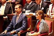 King Felipe VI of Spain and Queen Letizia of Spain visit the French National Assembly on June 3, 2015 in Paris