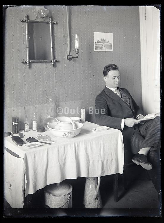 interior barber shop France circa 1920s
