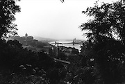 distant view of the Chain Bridge over the Danube River in Budapest, Hungary
