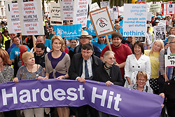 © licensed to London News Pictures. LONDON, UK  11/05/2011. Sally Bercow (C), wife of the Speaker, at the front of the Hardest Hit March. Their eldest son suffers from autism. Thousands of disabled people march past Parliament to protest against cuts to the support offered to the physically and mentally handicapped in particular the disability living allowance (DLA). Please see special instructions for usage rates. Photo credit should read CLIFF HIDE/LNP