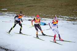 20.12.2014, Nordische Arena, Ramsau, AUT, FIS Nordische Kombination Weltcup, Staffel Langlauf, im Bild v.l.: Maxime Laheurte (FRA), Fabian Riessle (GER), Joergen Graabak (NOR) // during Cross Country of FIS Nordic Combined World Cup, at the Nordic Arena in Ramsau, Austria on 2014/12/20. EXPA Pictures © 2014, EXPA/ JFK