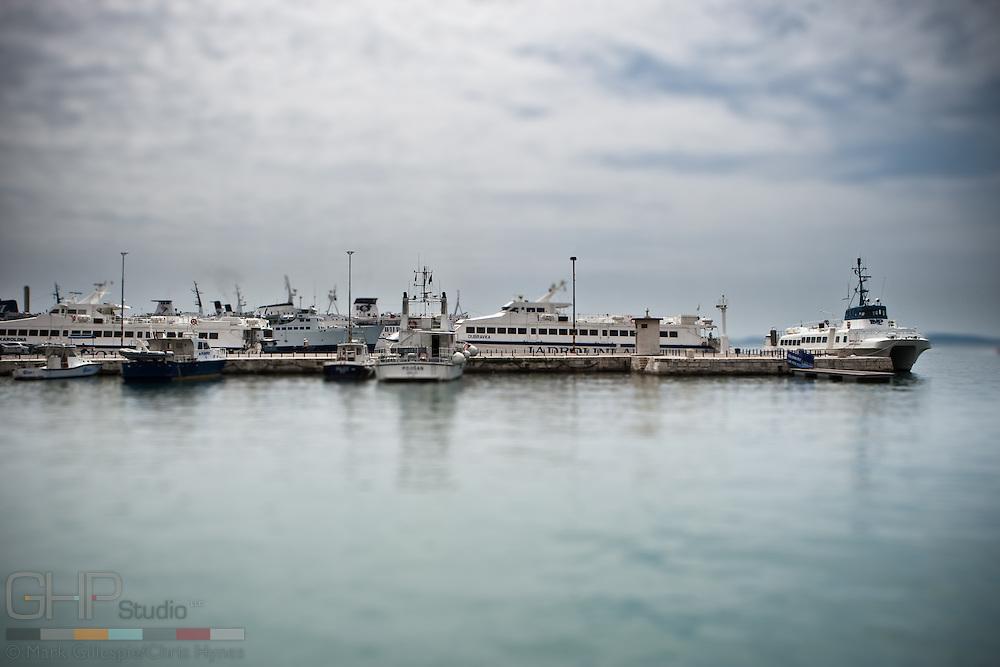 Passenger ferries crowd the dock in Split harbor.