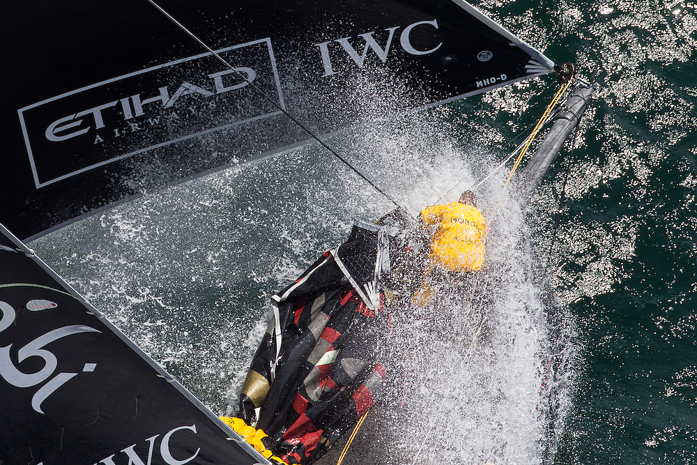FRANCE, Lorient. 1st July 2012. Volvo Ocean Race, Leg 9 Lorient-Galway. Wade Morgan on the bow of Abu Dhabi Ocean Racing.