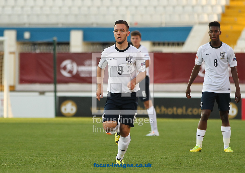 Adam Armstrong (centre) of England during the 2014 UEFA European Under-17 match at Ta' Qali National Stadium, Attard<br /> Picture by Tom Smith/Focus Images Ltd 07545141164<br /> 09/05/2014