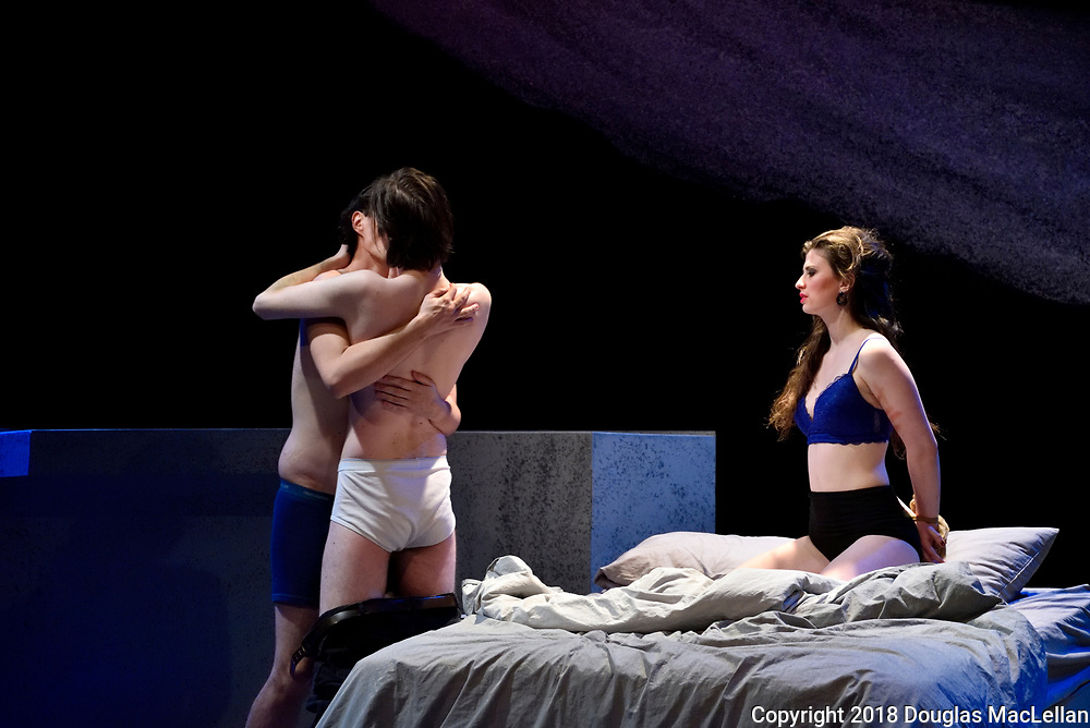 """""""Love and Human""""Remains"""" dress rehearsal at Hatch Studio Theatre at University of Windsor, Canada. Written by Brad Fraser, directed by Heather Davies. An University Players production."""
