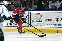 KELOWNA, BC - SEPTEMBER 28:  Liam Kindree #26 of the Kelowna Rockets skates with the puck against the Everett Silvertips at Prospera Place on September 28, 2019 in Kelowna, Canada. (Photo by Marissa Baecker/Shoot the Breeze)