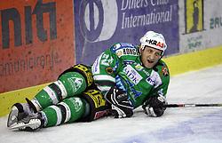Tomaz Vnuk of Olimpija at ice hockey match ZM Olimpija  vs Acroni Jesencie in fourth round of the final of Slovenian National Championship,  on April 9, 2008 in Arena Tivoli, Ljubljana, Slovenia. Acroni Jesenice won the game 2:1 and won the series 4:0. Acroni Jesenice became Slovenian Championship Winner. (Photo by Vid Ponikvar / Sportal Images)