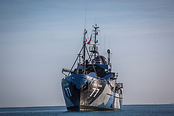 Sea Shepherd's the Steve Iwrin sits off Broome's Cable Beach during Operation Kimberley Minimbii.