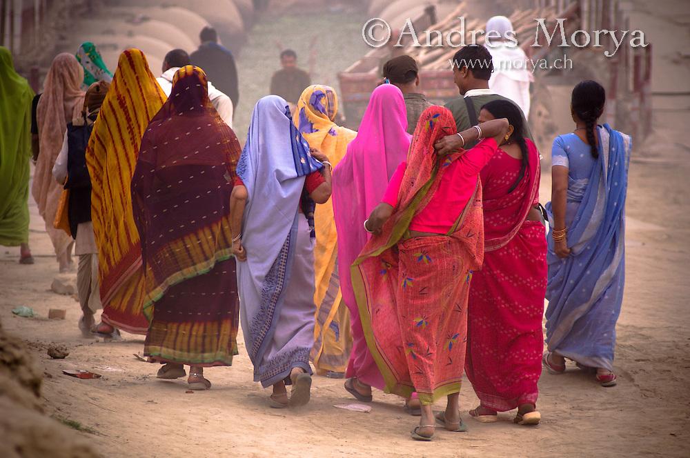 Hindu pilgrims in the Ganges at Allahabad Magh Mela in Allahabad Image by Andres Morya