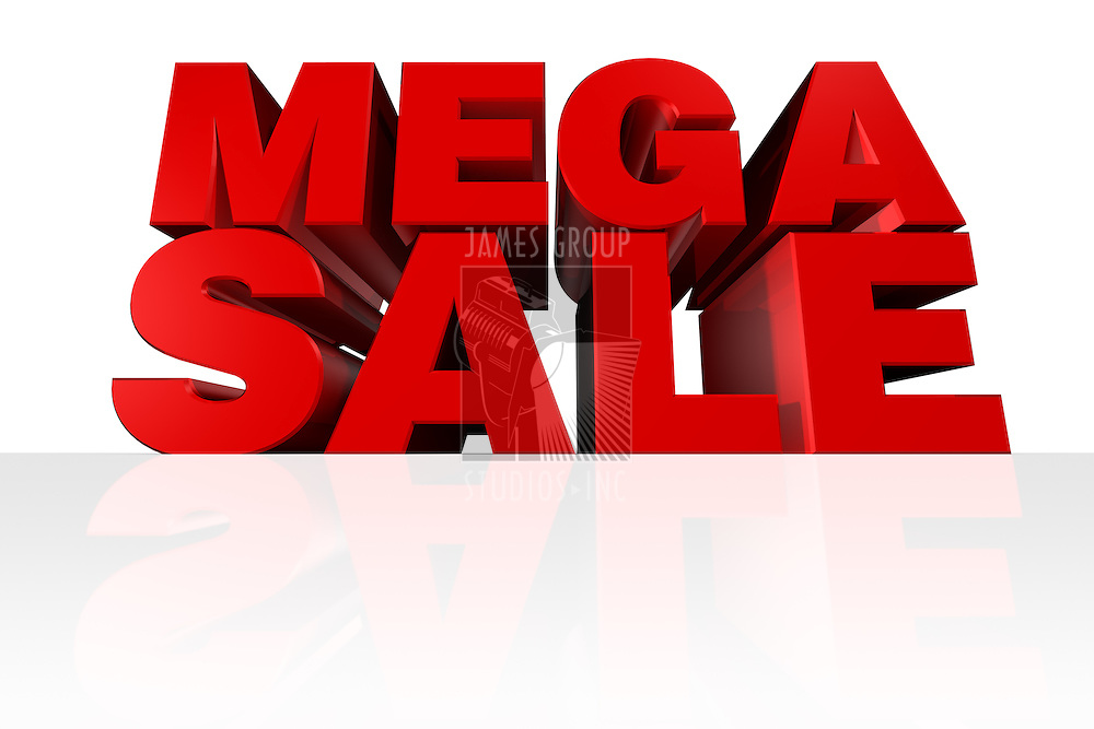 """""""MEGA SALE"""" 3D Headline rendered from a worm's eye view"""