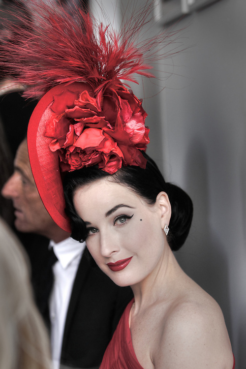 Dita Von Teese at the Lavazza marque. Victoria Derby Day at Flemimgton Races. Pic By Craig Sillitoe CSZ/The Sunday Age.29/10/2011 melbourne photographers, commercial photographers, industrial photographers, corporate photographer, architectural photographers, This photograph can be used for non commercial uses with attribution. Credit: Craig Sillitoe Photography / http://www.csillitoe.com<br />