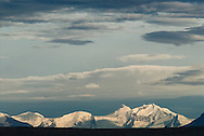 View of the Cordillera Darwin, across Lago Argentino from El Calafate, Patagonia, Argentina