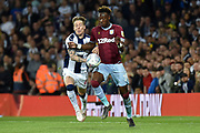 West Bromwich Albion midfielder (on loan from Fulham) Stefan Johansen (6) battles for possession  with Aston Villa striker(on loan from Chelsea) Tammy Abraham (18) during the EFL Sky Bet Championship play-off second leg match between West Bromwich Albion and Aston Villa at The Hawthorns, West Bromwich, England on 14 May 2019.