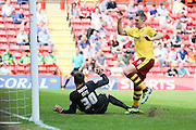 Burnley striker, Sam Vokes (09) scoring opening goal of game 0-1 during the Sky Bet Championship match between Charlton Athletic and Burnley at The Valley, London, England on 7 May 2016. Photo by Matthew Redman.
