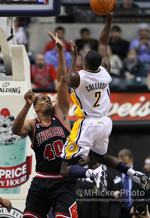 Jan. 14, 2011; Indianapolis, IN, USA; Indiana Pacers guard Darren Collison (2)  shoots over Chicago Bulls center Kurt Thomas (40) at Conseco Fieldhouse. Chicago defeated Indiana 99-86. Mandatory credit: Michael Hickey-US PRESSWIRE