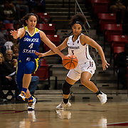 24 February 2018: The San Diego State women's basketball team closes out it's home schedule of the regular season Saturday afternoon against San Jose State.San Diego State Aztecs guard Te'a Adams (5) steals the ball from San Jose State Spartans guard Fa-Ko-Fieme'a Hafoka (4) in the first half.  At halftime the Aztecs lead the Spartans 36-33 at Viejas Arena.<br /> More game action at sdsuaztecphotos.com