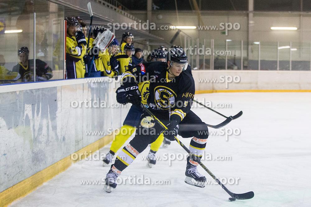 Kristjan Cepon #5 of HK Playboy Slavia during Inter National League ice hockey match between HK Playboy Slavija and HK ECE Celje, on September 30, 2015, in Ledena Dvorana Zalog, Ljubljana, Slovenia. Photo by Urban Urbanc / Sportida
