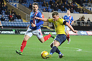 Oxford United midfielder Alex MacDonald shoots during the Sky Bet League 2 match between Oxford United and Carlisle United at the Kassam Stadium, Oxford, England on 12 December 2015. Photo by Alan Franklin.