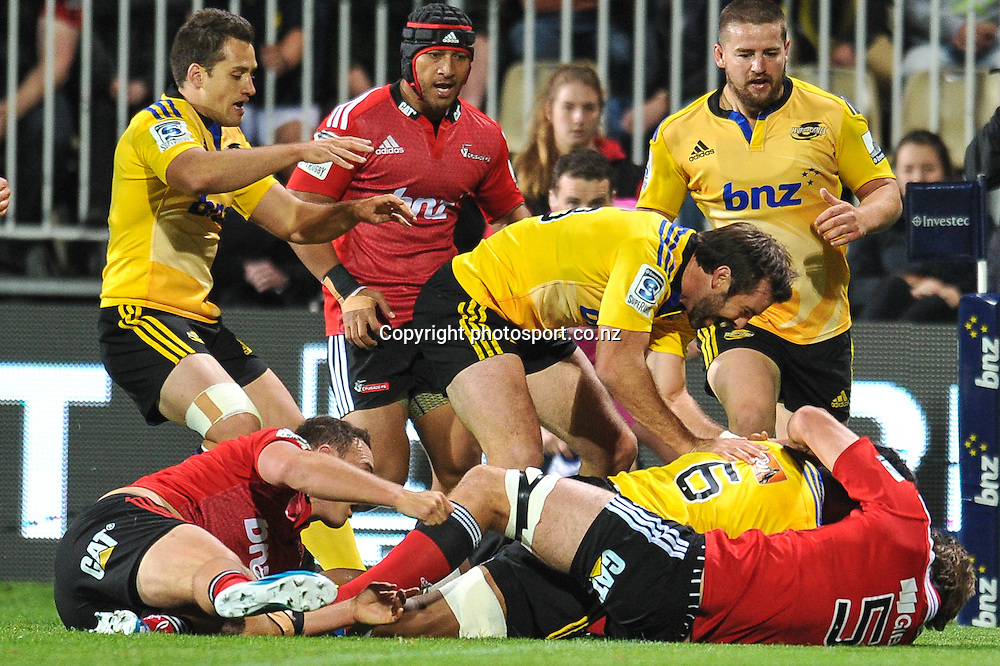 Conrad Smith of the Hurricanes celebrates Faifili Levave of the Hurricanes try in the Super Rugby game, Crusaders v Hurricanes, 28 March 2014. Photo:John Davidson/photosport.co.nz