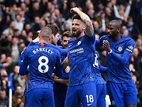 Football - 2019 / 2020 Premier League - Chelsea vs. Tottenham Hotspur<br /> <br /> Chelsea's Olivier Giroud celebrates his side's second goal scored by Marcos Alonso , at Stamford Bridge.<br /> <br /> COLORSPORT/ASHLEY WESTERN