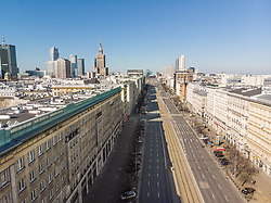 March 15, 2020: Warsaw, Poland: Empty streets in following the declaration of the state of epidemic threat during an outbreak of coronavirus in Poland. (Credit Image: © Kuba Stezycki/FORUM via ZUMA Press)