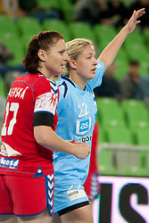 Martinkova of Czech Republic and Sanja Gregorc of Slovenia during handball match between Women National Teams of Slovenia and Czech Republic of 4th Round of EURO 2012 Qualifications, on March 25, 2012, in Arena Stozice, Ljubljana, Slovenia. (Photo by Urban Urbanc / Sportida.com)