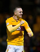 3rd November 2018, Fir Park, Motherwell, Scotland; Ladbrokes Premiership football, Motherwell versus Dundee; Tom Aldred of Motherwell celebrates at the end of the match