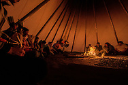 Peyote ceremony, Native American Church, singer, Crow Indian Reservation, Montana