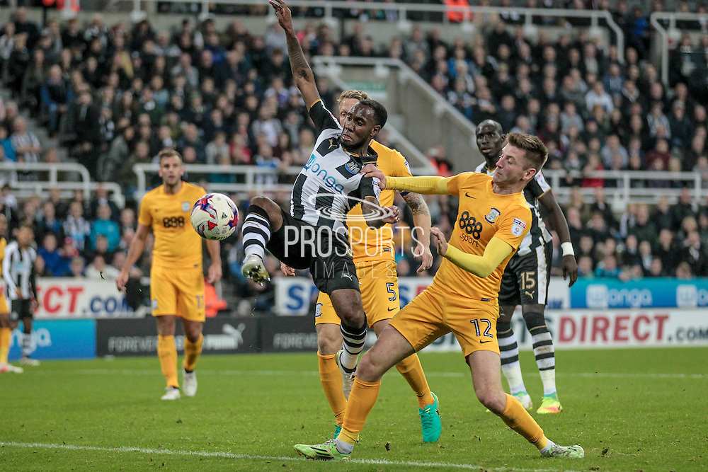 Vurnon Anita (Newcastle United) gets through the Preston defence and acrobatically gets a shot in on goal. The shot is saved during the EFL Cup 4th round match between Newcastle United and Preston North End at St. James's Park, Newcastle, England on 25 October 2016. Photo by Mark P Doherty.