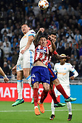 Forward Florian Thauvin of Olympique de Marseille and Defender Jose Maria Gimenez of Atletico de Madrid during the UEFA Europa League, Final football match between Olympique de Marseille and Atletico de Madrid on May 16, 2018 at Groupama Stadium in Decines-Charpieu near Lyon, France - Photo Jean-Marie Hervio / ProSportsImages / DPPI