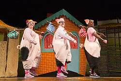 "© Licensed to London News Pictures. 05/08/2015. London, UK. L-R: Leanne Jones, Daniel Buckley and Taofique Folarin. West End premiere of the children's story ""The 3 Little Pigs"" at the Palace Theatre starring Simon Webbe as Wolf, Alison Jiear as Mother, Leanne Jones as Bee, Taofique Folarin as Bar and Daniel Buckley as Q. The show runs from 5 August to 6 September 2015. Photo credit: Bettina Strenske/LNP"