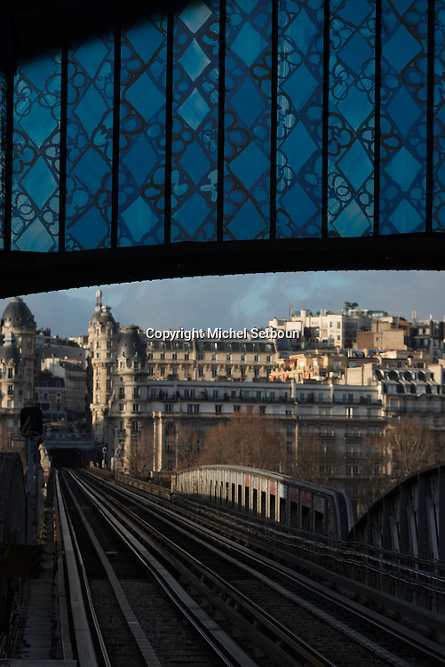 France. Paris. 16th district .  Bir Hakeim subway bridge and train station in the 16th district cross the Seine river from right bank to left bank