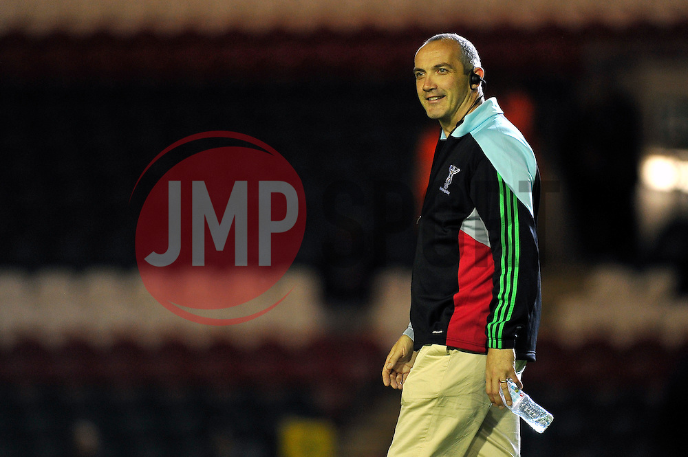 Harlequins Director of Rugby Conor O'Shea looks on during the pre-match warm-up - Photo mandatory by-line: Patrick Khachfe/JMP - Mobile: 07966 386802 10/10/2014 - SPORT - RUGBY UNION - Leicester - Welford Road - Leicester Tigers v Harlequins - Aviva Premiership