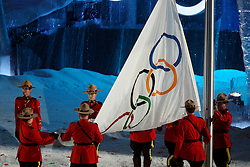 Olympic Winter Games Vancouver 2010 - Olympische Winter Spiele Vancouver 2010, Opening Ceremony in the BC Place Stadium, Mounties with olympic flag, Fahne, Flagge,  *Photo by Malte Christians / HOCH ZWEI / SPORTIDA.com.