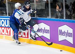 Nicolas Ritz of France vs Atte Ohtamaa of Finland during the 2017 IIHF Men's World Championship group B Ice hockey match between National Teams of Finland and France, on May 7, 2017 in Accorhotels Arena in Paris, France. Photo by Vid Ponikvar / Sportida