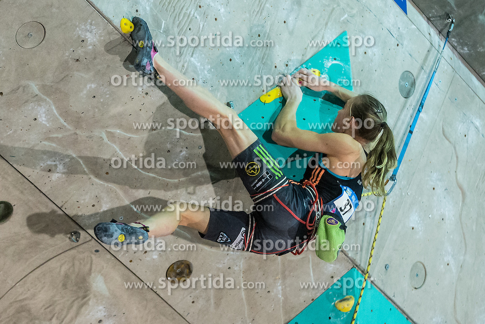 Janja Garnbret of Slovenia during women final competition of IFSC Climbing World Cup Kranj 2015, on November 15, 2015 in Arena Zlato Polje, Kranj, Slovenia. (Photo By Grega Valancic / Sportida.com)
