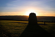 The sun rises over the hills of Meath. The view from Newgrange at 8:56am on December 21st, when the solstice sunshine pierces the inner chamber of Newgrange..