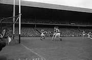 03/09/1967<br /> 09/03/1967<br /> 3 September 1967<br /> All-Ireland Senior Hurling Final: Kilkenny v Tipperary at Croke Park, Dublin.<br /> Kilkenny forward, J. Lynch (15), scores Kilkenny's first goal. Tipperary goalie, J. O'Donoghue is on the left.