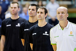 Domen Lorbek of Slovenia and Jure Zdovc, head coach of Slovenia during friendly basketball match between National teams of Slovenia and Georgia in day 2 of Adecco Cup 2014, on July 25, 2014 in Dvorana OS 1, Murska Sobota, Slovenia. Photo by Vid Ponikvar / Sportida.com
