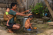 Chang Naga bathing<br /> Chang Naga headhunting Tribe<br /> Tuensang district<br /> Nagaland,  ne India