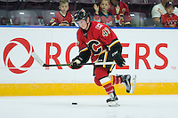 PENTICTON, CANADA - SEPTEMBER 16: Matthew Phillips #47 of Calgary Flames skates against the Winnipeg Jets on September 16, 2016 at the South Okanagan Event Centre in Penticton, British Columbia, Canada.  (Photo by Marissa Baecker/Shoot the Breeze)  *** Local Caption *** Matthew Phillips;