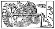 Bellows operated by a camshaft powered by a water wheel. This application of the medieval invention of the cam enabled both bellows to be powered by the same water wheel. From Biringuccio 'De la Pirotechnia' Venice 1540. Woodcut.