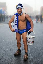 23rd December 2017 - Premier League - Everton v Chelsea - Everton fan 'Speedo Mick' wears swimming trunks in the cold fog - Photo: Simon Stacpoole / Offside.